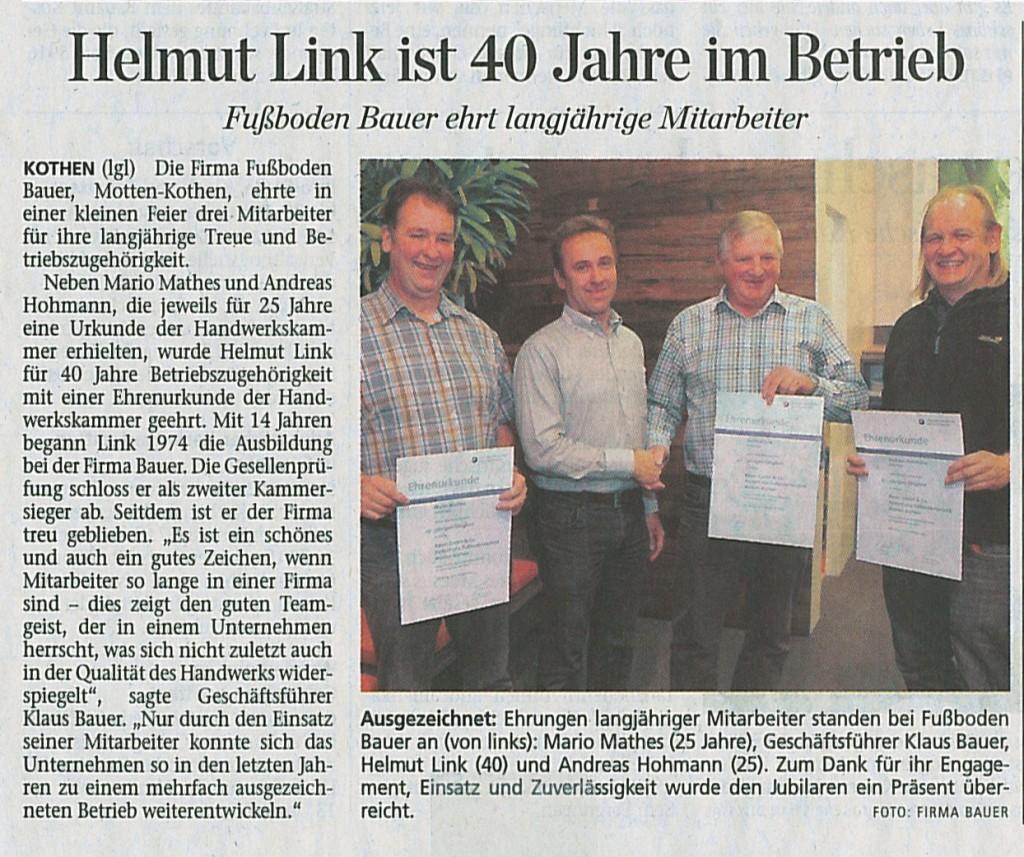 Helmut Link ist 40 Jahre im Betrieb